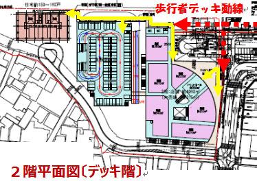 多治見駅南地区における施設計画案:2階平面図(デッキ階)