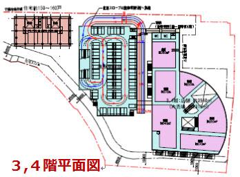 多治見駅南地区における施設計画案:3、4階平面図