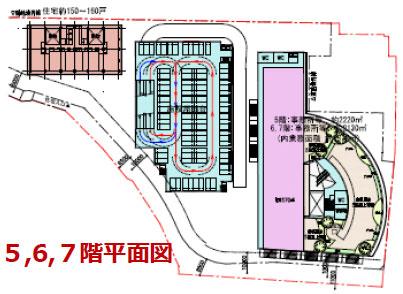 多治見駅南地区における施設計画案:5、6、7階平面図